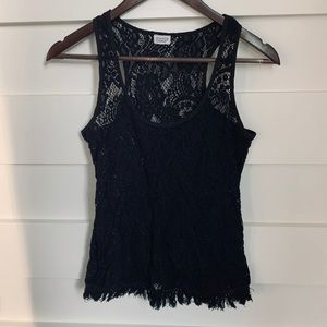 Charming Charlie - Black Lace Tank Top